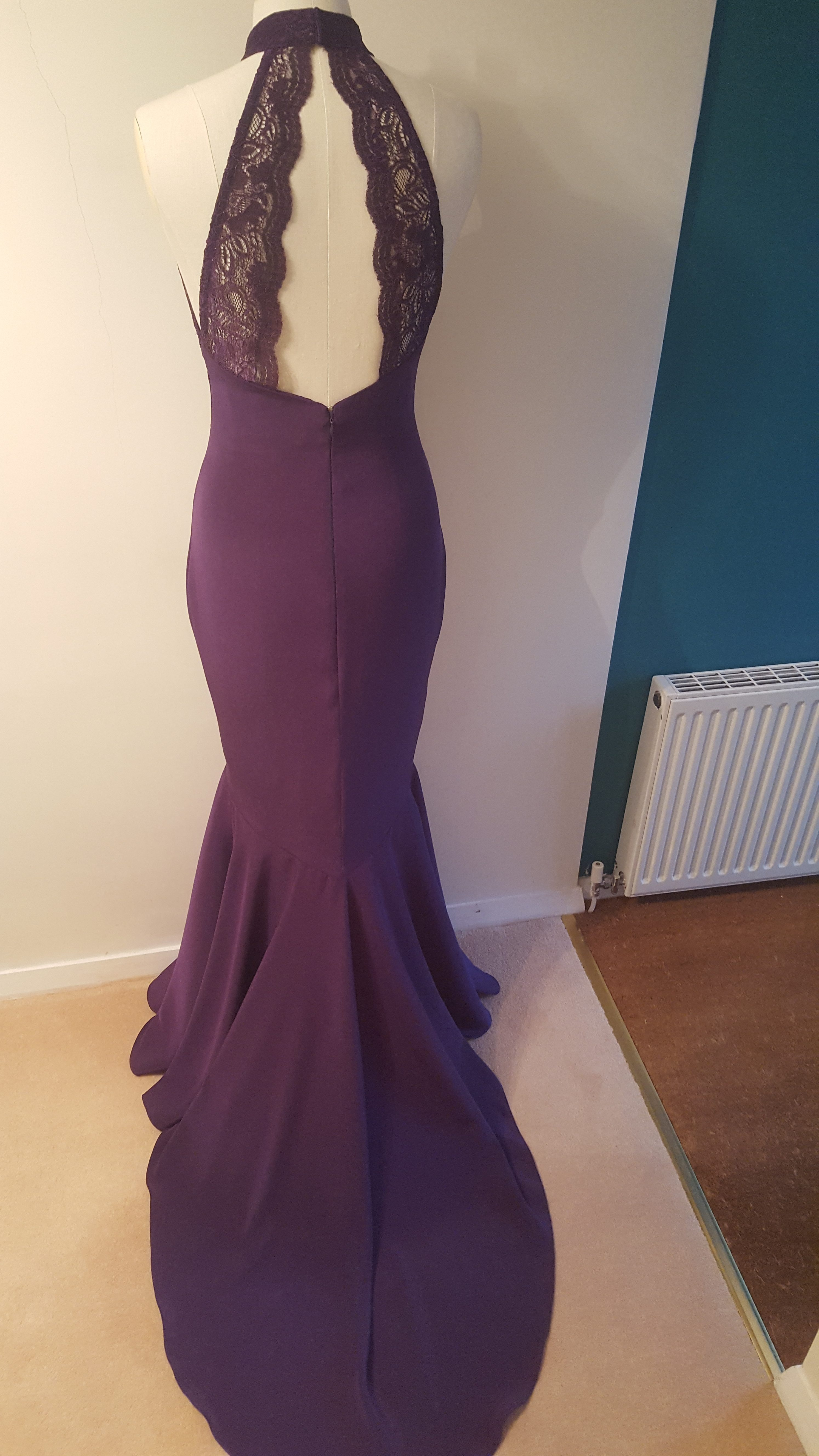 back view of purple prom dress