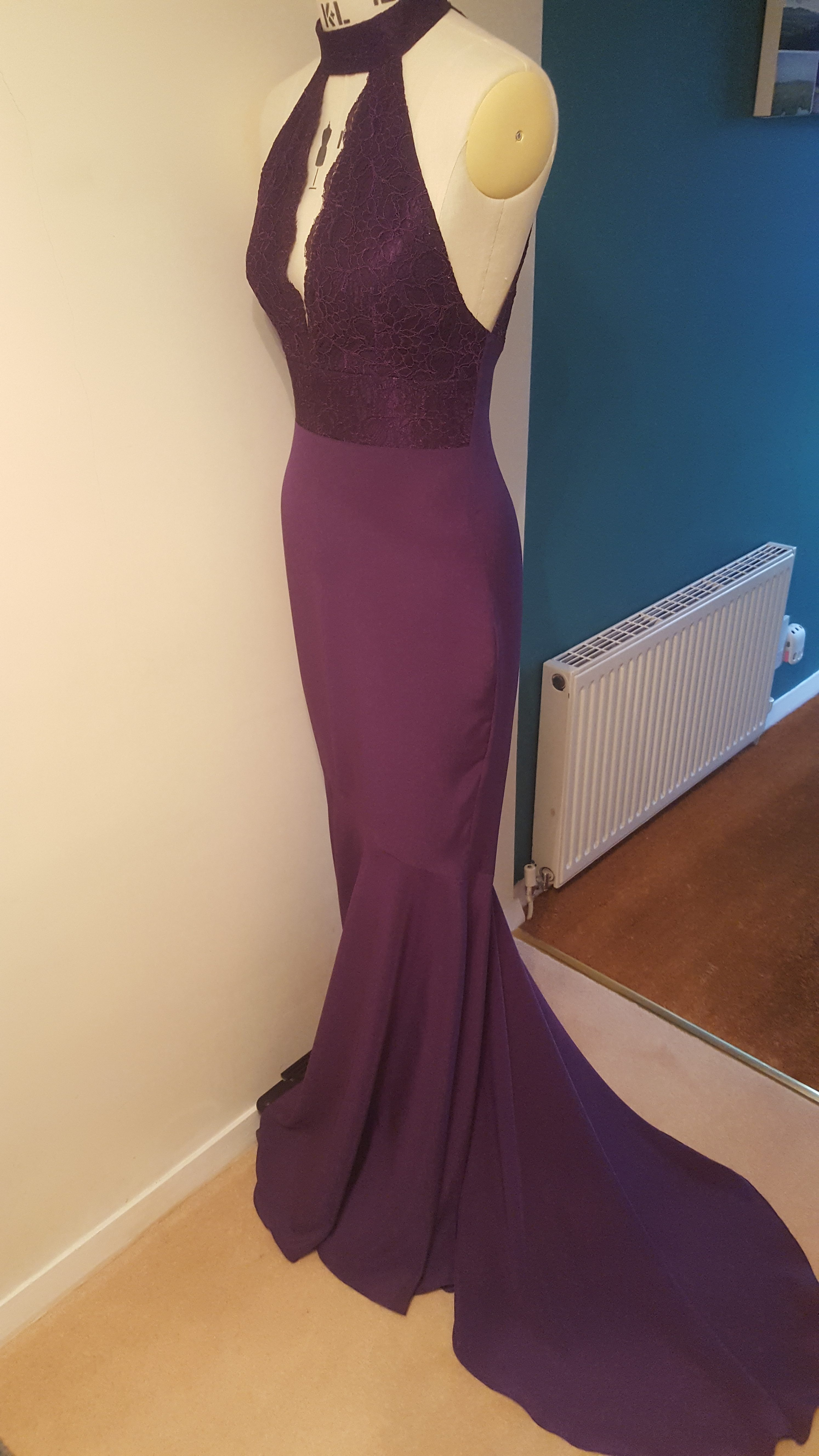 front view of purple prom dress