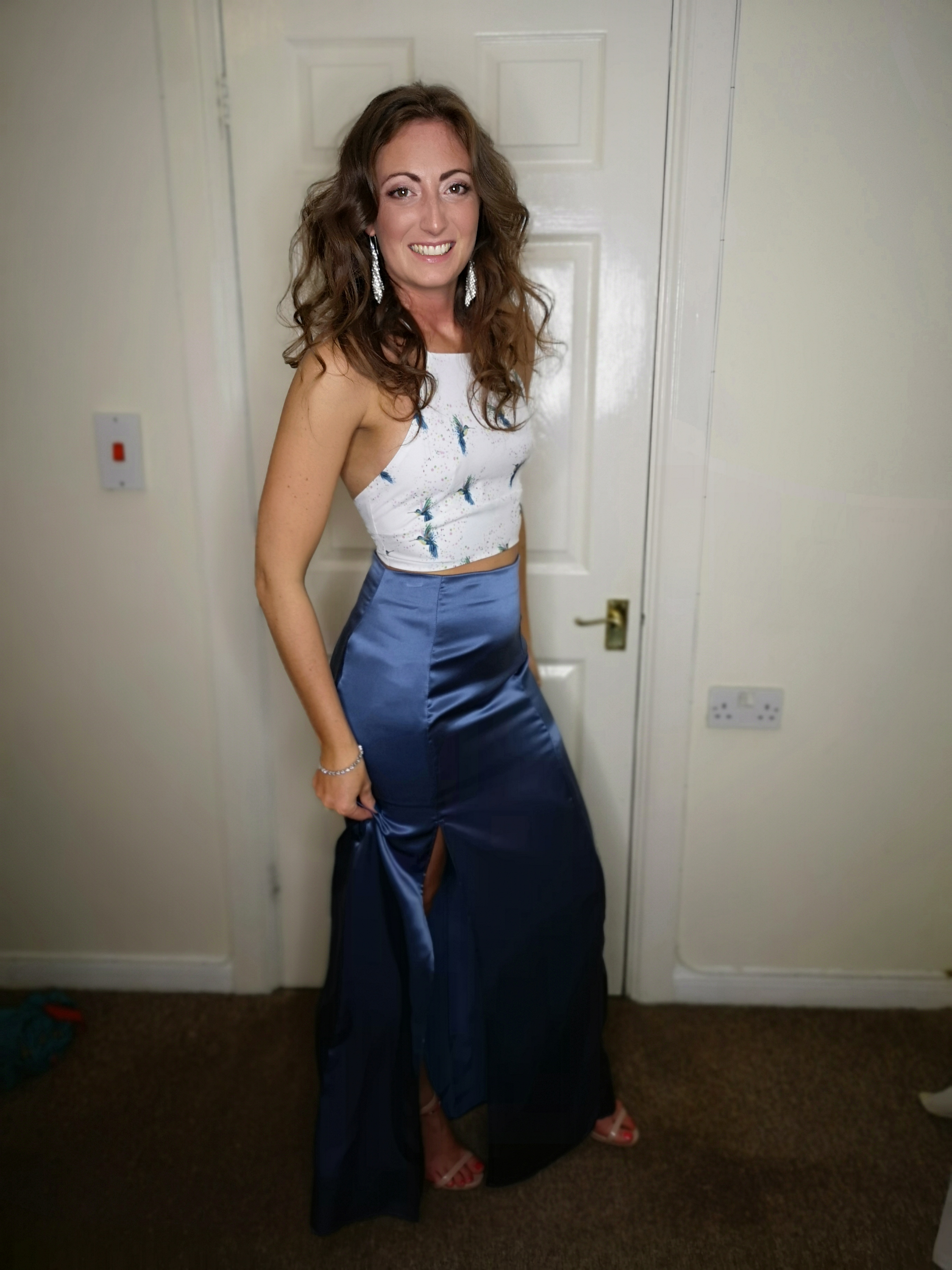 me in satin skirt and hummingbird top