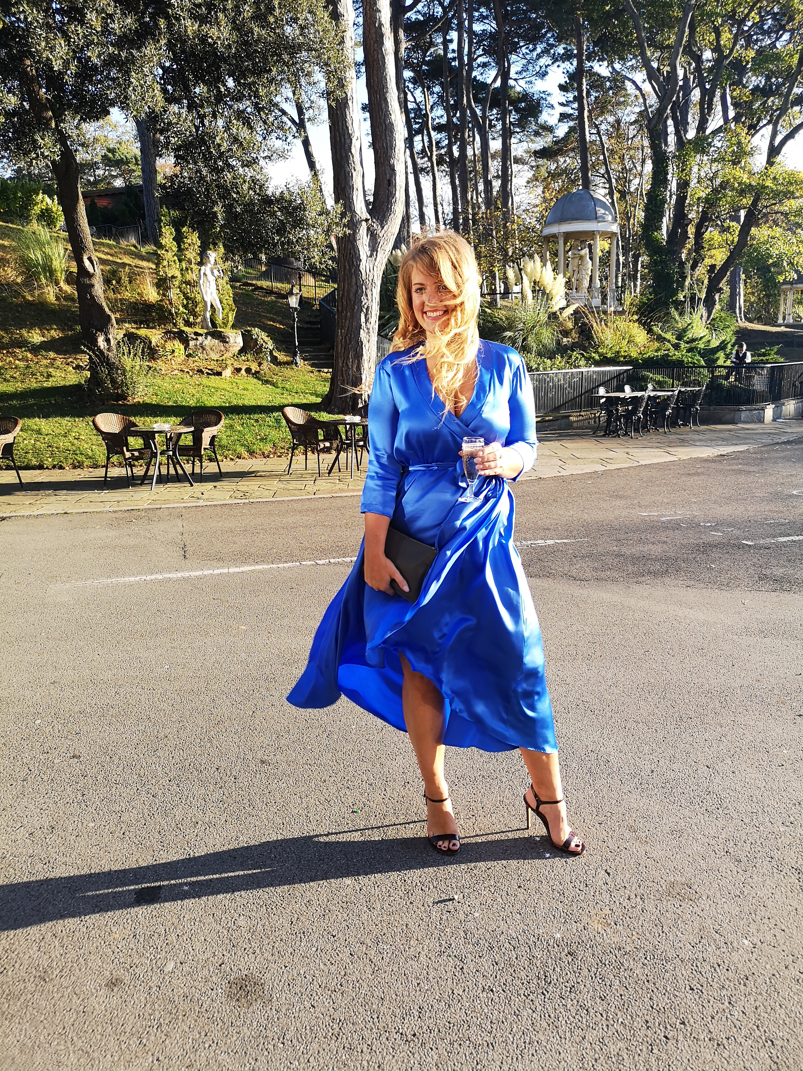 lisa blue dress in sun